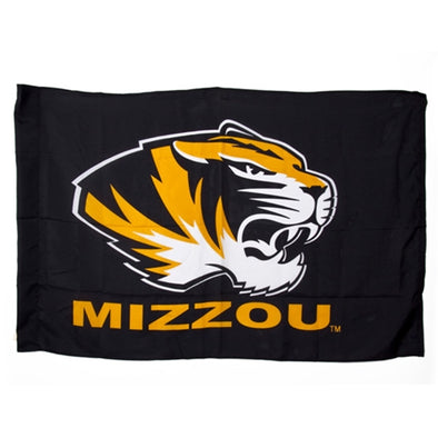Mizzou Tiger Head Black Flag with Sleeve