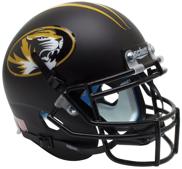 Mizzou Oval Tiger Head Black Mini Football Helmet