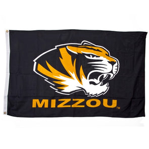 Mizzou Tiger Head Black Flag with Grommets