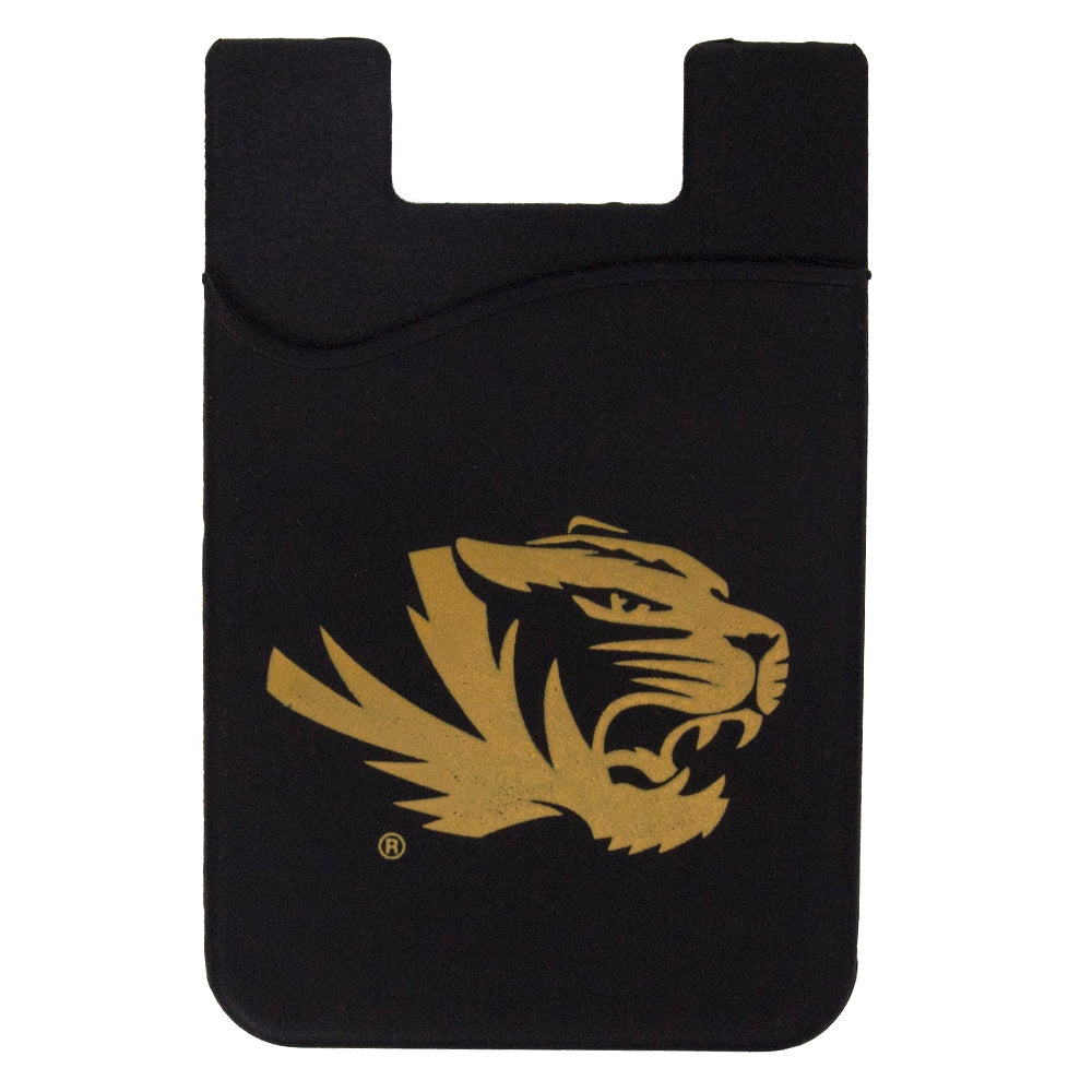 Cell Phone Card Holder >> Mizzou Tiger Head Silicone Black Gold Cell Phone Card Holder