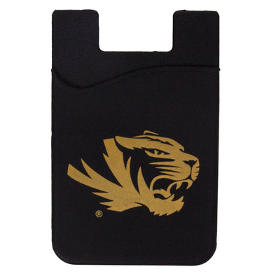Mizzou Tiger Head Silicone Black & Gold Cell Phone Card Holder