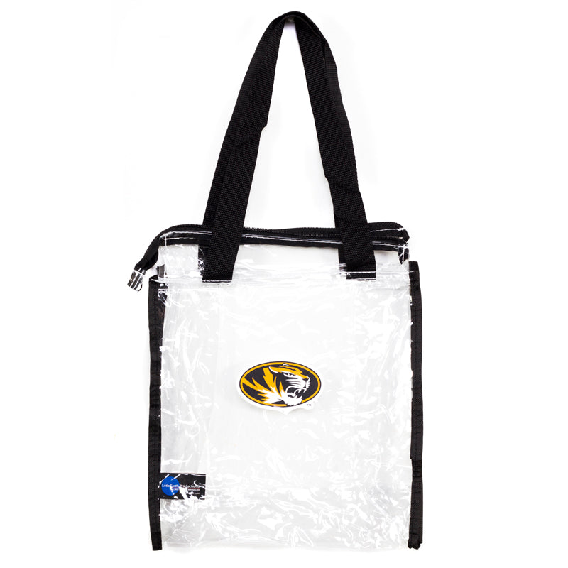 790285baab38 Mizzou Oval Tiger Head Clear SEC Compliant Tote with Zipper