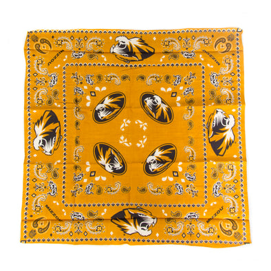Mizzou Tiger Head Gold Traditional Bandana