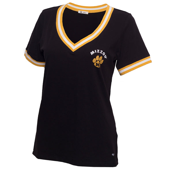 Mizzou Juniors' Black & Gold V-Neck T-Shirt