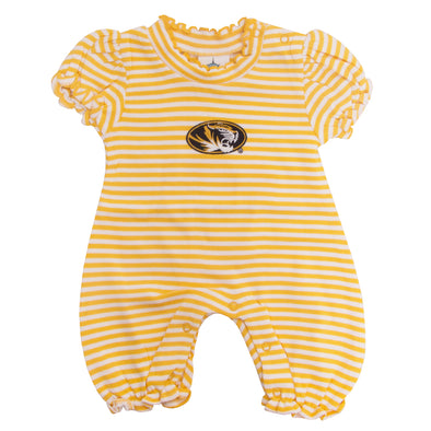 Mizzou Oval Tiger Head Gold & White Striped Romper Onesie