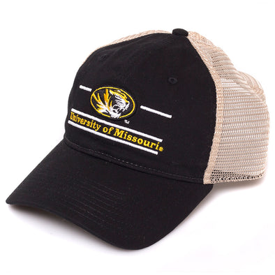 University of Missouri Oval Tiger Head Black Trucker Hat