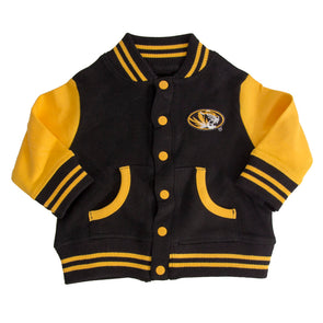 faf9a232bfddc3 Mizzou Infant Toddler Black and Gold Oval Tiger Head Varsity Jacket