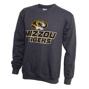 Mizzou Tigers Oval Tiger Head Grey Crew Sweatshirt