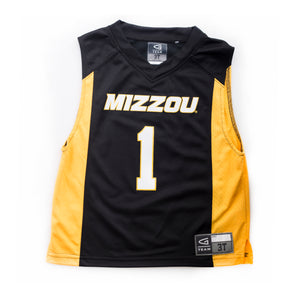 Mizzou Tigers Toddler Black and Gold #1 Basketball Jersey