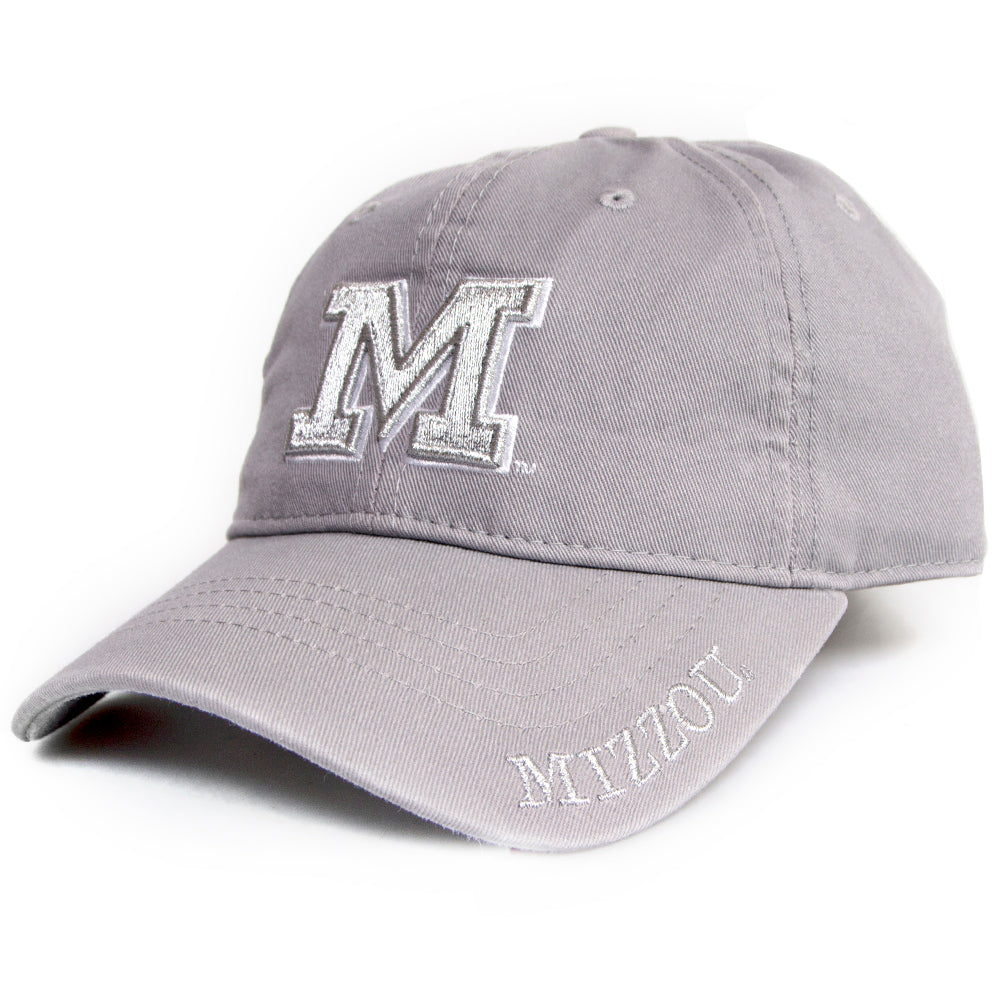 Mizzou Block M Metallic Tonal Grey Adjustable Juniors' Cap