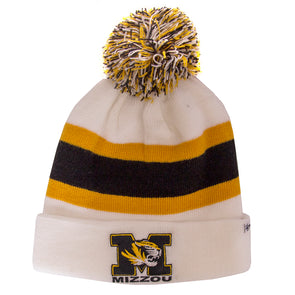 Mizzou White & Gold Cuffed Beanie with Pom