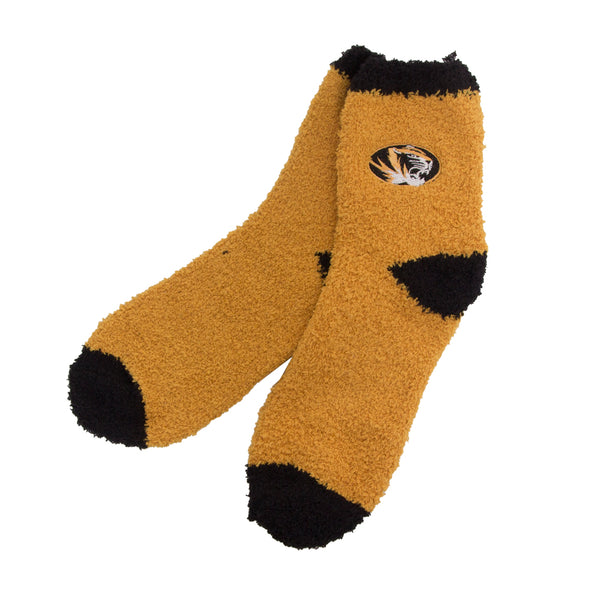 Mizzou Fuzzy Sleep Socks Gold with Black Trim