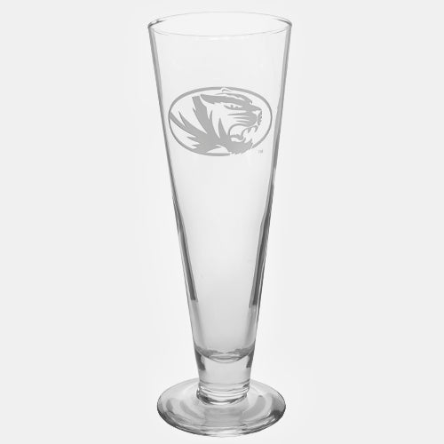 Mizzou Oval Tiger Head Etched Pilsner Glass