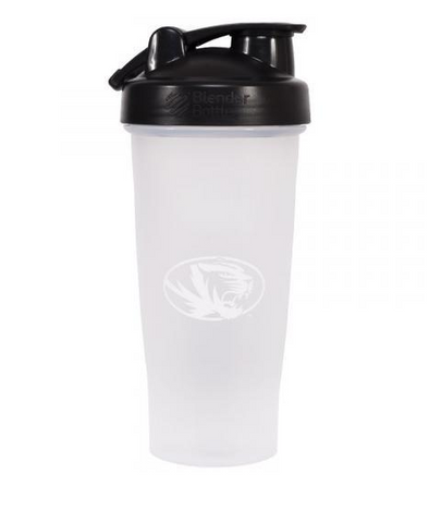 Mizzou Oval Tiger Head Black and White Blender Bottle 28 oz.