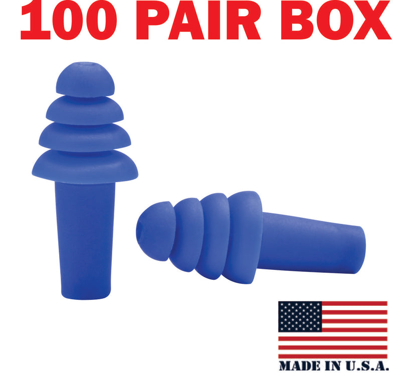 Ear Plug, Reusable,  box of 100 pairs, USA made, Quattro, un-corded, blue