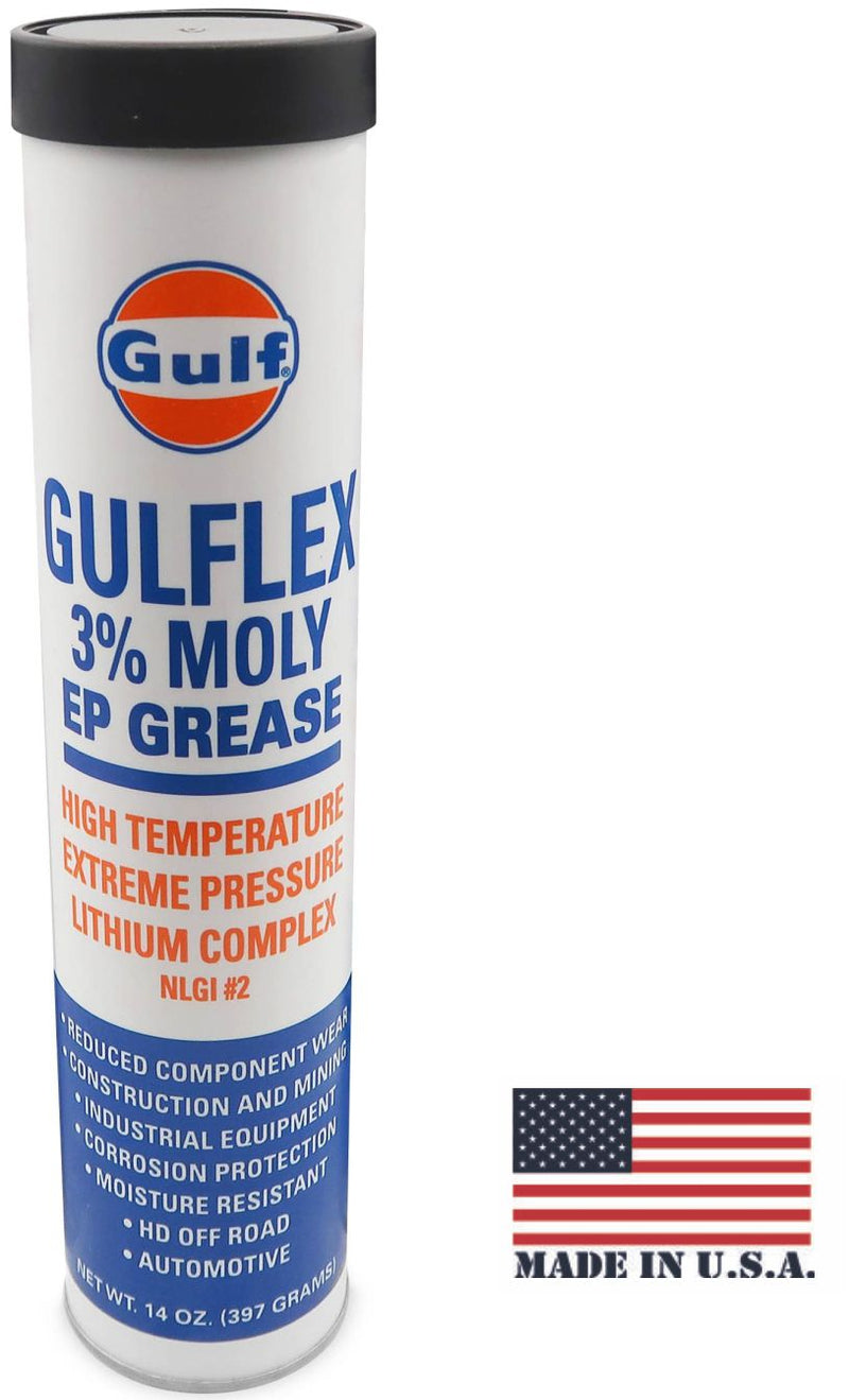 Gulflex 3% Moly EP Red Hi-Temp Grease Cartridge, 14 oz. Tube, Gulf | GULF14