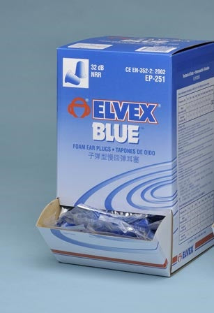 EP251 Elvex Blue Foam Ear Plugs 200 Count Box