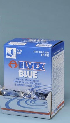 EP253 Elvex Corded Blue Foam Ear Plugs 100 Count Box