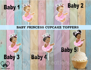 Princess Baby Pink Tutu Silver or Gold Crown Cupcake Toppers