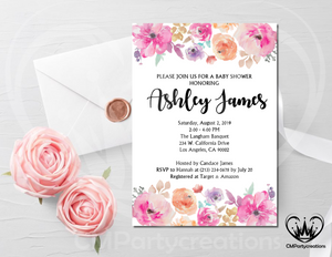 Baby Shower Invitation Flowers