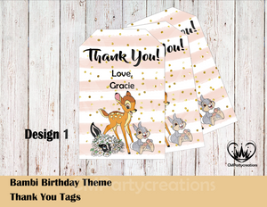 Bambi Personalized Thank You Tags