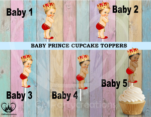 Baby Prince with Gold Crown Cupcake Toppers
