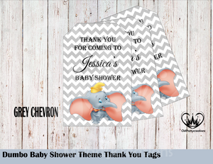 Dumbo Baby Shower Thank You Tags, Custom Name, Personalized