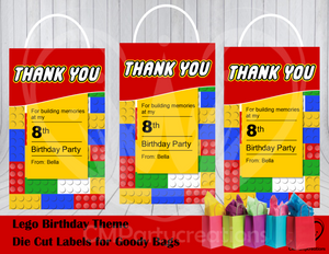 Lego Theme Die Cut Goody Bag Labels