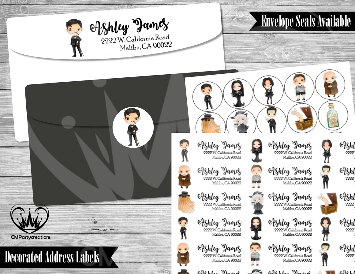 Addams Family Address Labels Mailing Labels