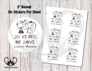 "25 Years of Love 3"" Round Stickers"