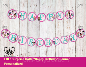 LOL Surprise Dolls Personalized Birthday Banner
