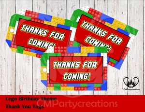 Lego Theme Thank You Tags