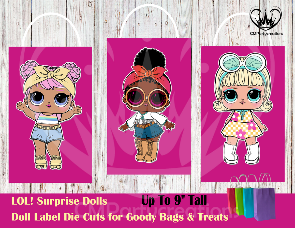 LOL Surprise Dolls Die Cut Goody Bag Labels