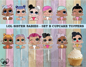 LOL Surprise Sister Dolls Cupcake Toppers Die Cuts