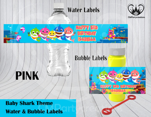 Baby Shark Birthday Party Water & Bubble Labels