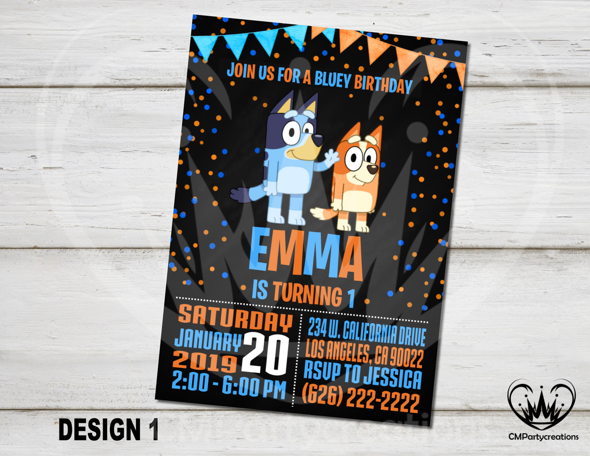 Bluey Personalized Invitation Birthday Party