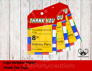 Lego Theme Personalized Thank You Tags