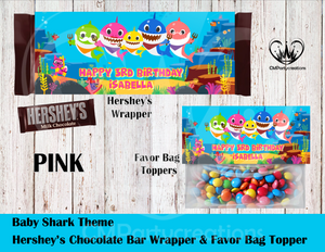 Baby Shark Hershey's Wrapper and Favor Bag Toppers