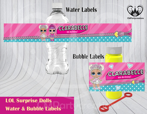 Personalized Name LOL Surprise Dolls Birthday Water & Bubble Labels