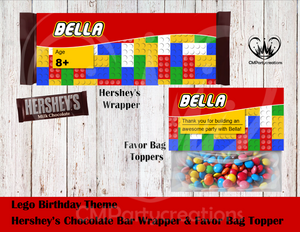 Lego Theme Hershey's Wrapper and Favor Bag Toppers