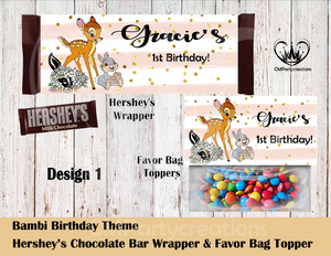 Bambi Hershey's Wrapper and Favor Bag Toppers