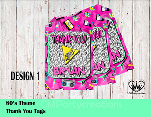 80's I Love the Personalized Thank You Tags