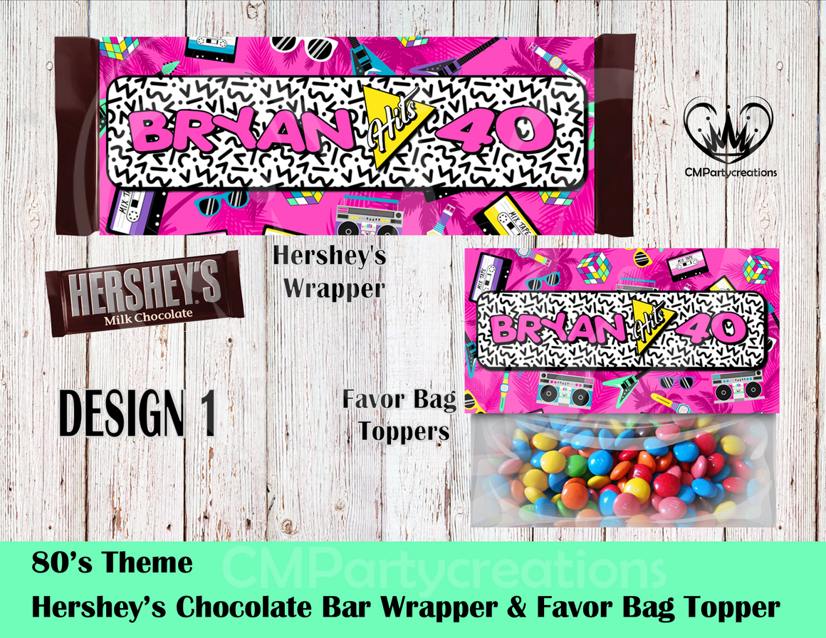 80's I love the Hershey's Wrapper and Favor Bag Toppers