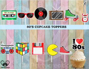 80's Totally I love Cupcake Toppers
