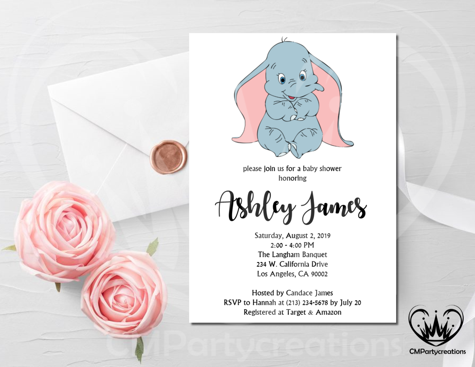 photograph about Baby Shower Invitation Printable named Dumbo Child Shower Invitation Printable
