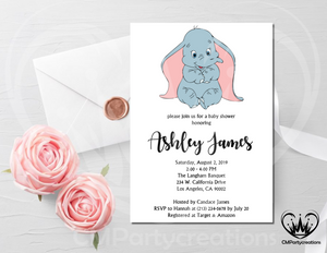 Dumbo Baby Shower Invitation Printable