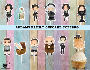 Addams Family Birthday Party Cupcake Toppers Die Cuts