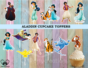 Aladdin Birthday Party Cupcake Toppers Die Cuts