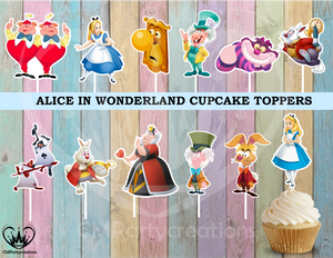 Alice in Wonderland Birthday Cupcake Toppers Die Cuts