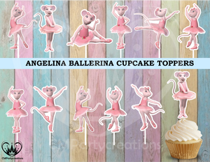 Angelina Ballerina Birthday Party Cupcake Toppers